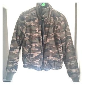 Reversible Camo to faux leather jacket